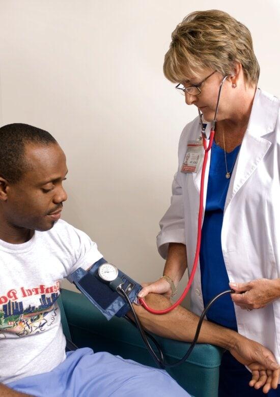 doctor, sphygmomanometer, pressurized, cuff, patient, arm