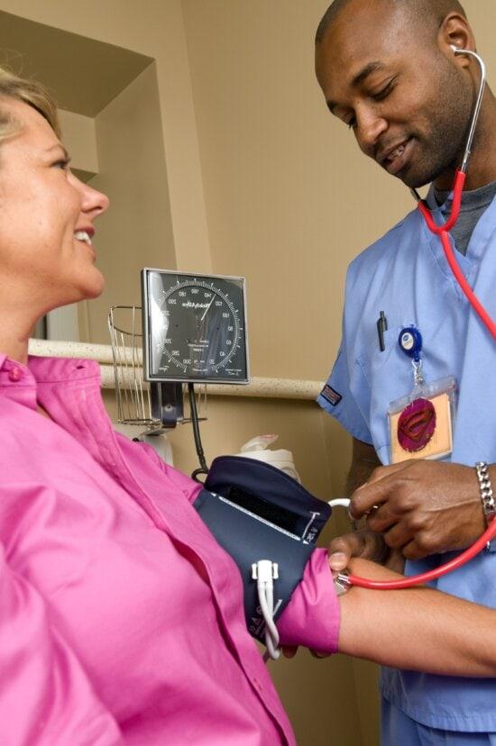 sphygmomanometer, doctor, pressurized, cuff, patient, arm