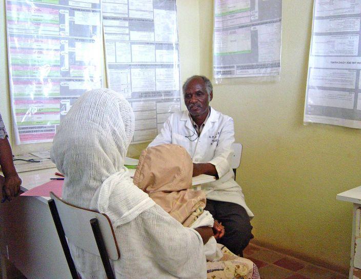 donna, bambino, ricevere, la salute, consulenza, formazione, professionista