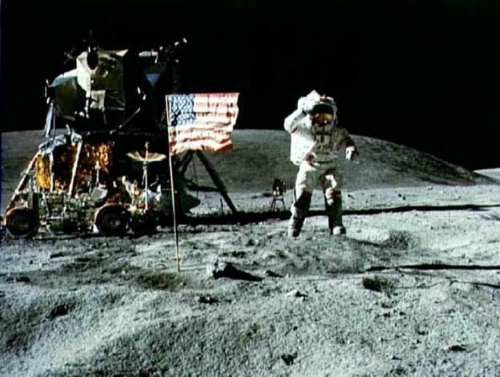 apolo, americano, bandera, luna
