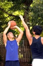 играя, един, едно, баскетбол