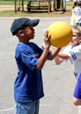 young, African American, boy enjoying, outdoor, physical, education, class