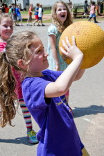 young girl enjoying, outdoor, physical, education, class