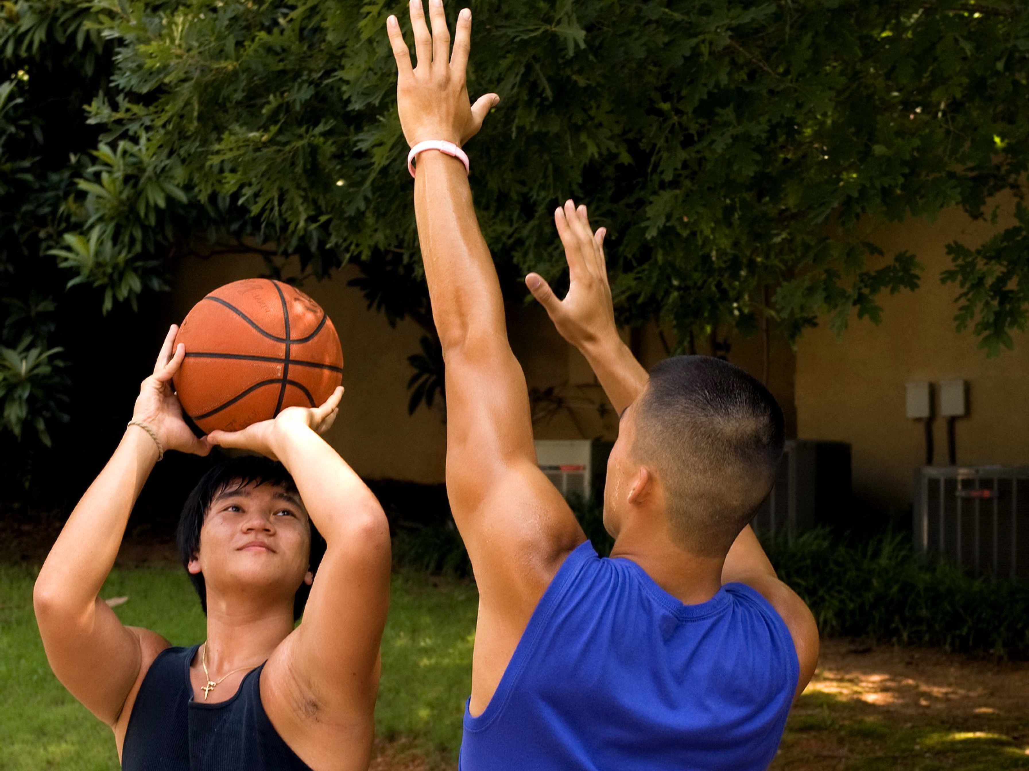 Free photograph; young, men, were, practicing, moves, basketball, court