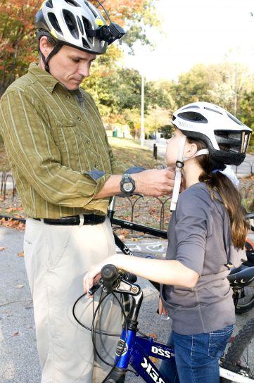 отец, дочь, полдень, велосипед, ездить