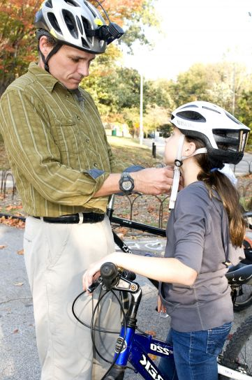 padre, hija, al mediodía, bicicleta, paseo