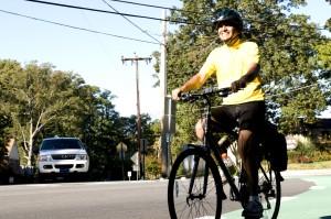 мужчина, велосипедист, приступили, утром, велосипед, ездить