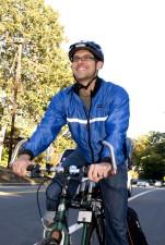 Muž, cyklista, pokračování, cvičení