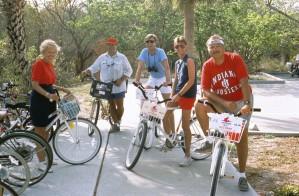 ricreativo, i ciclisti, le pause, la guida, biciclette, banco