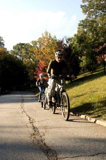 équitation, père, fille, équitation, vélo