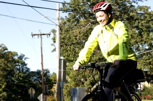 sourire, femme, cycliste