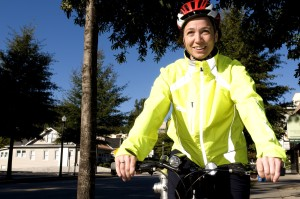 smile, female, bicyclist, bicycle, ride