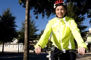 glimlach, vrouwelijk, fietser, fiets, rijden