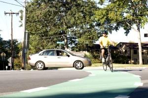 glimlach, mannelijke, fietser, straat