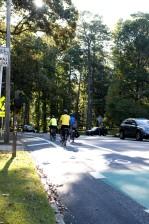 три, колоездачи, вградени, сутрин, велосипеди, езда