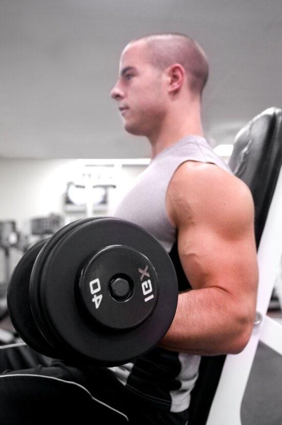 gym, exercise, sport, man, boy, dumbbells
