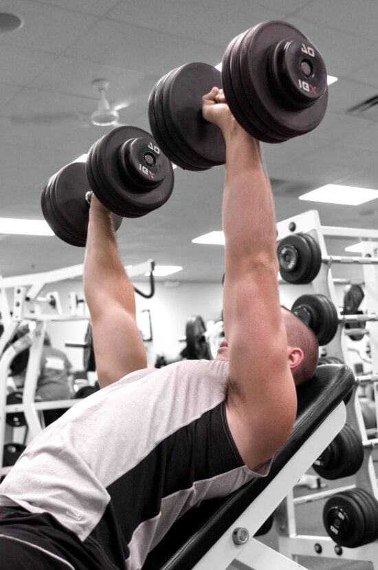 gym, exercise, sitting, dumbbells, sport