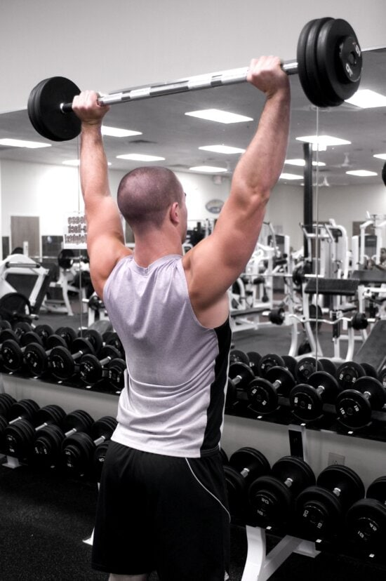 standing, overhead, barbell, presses