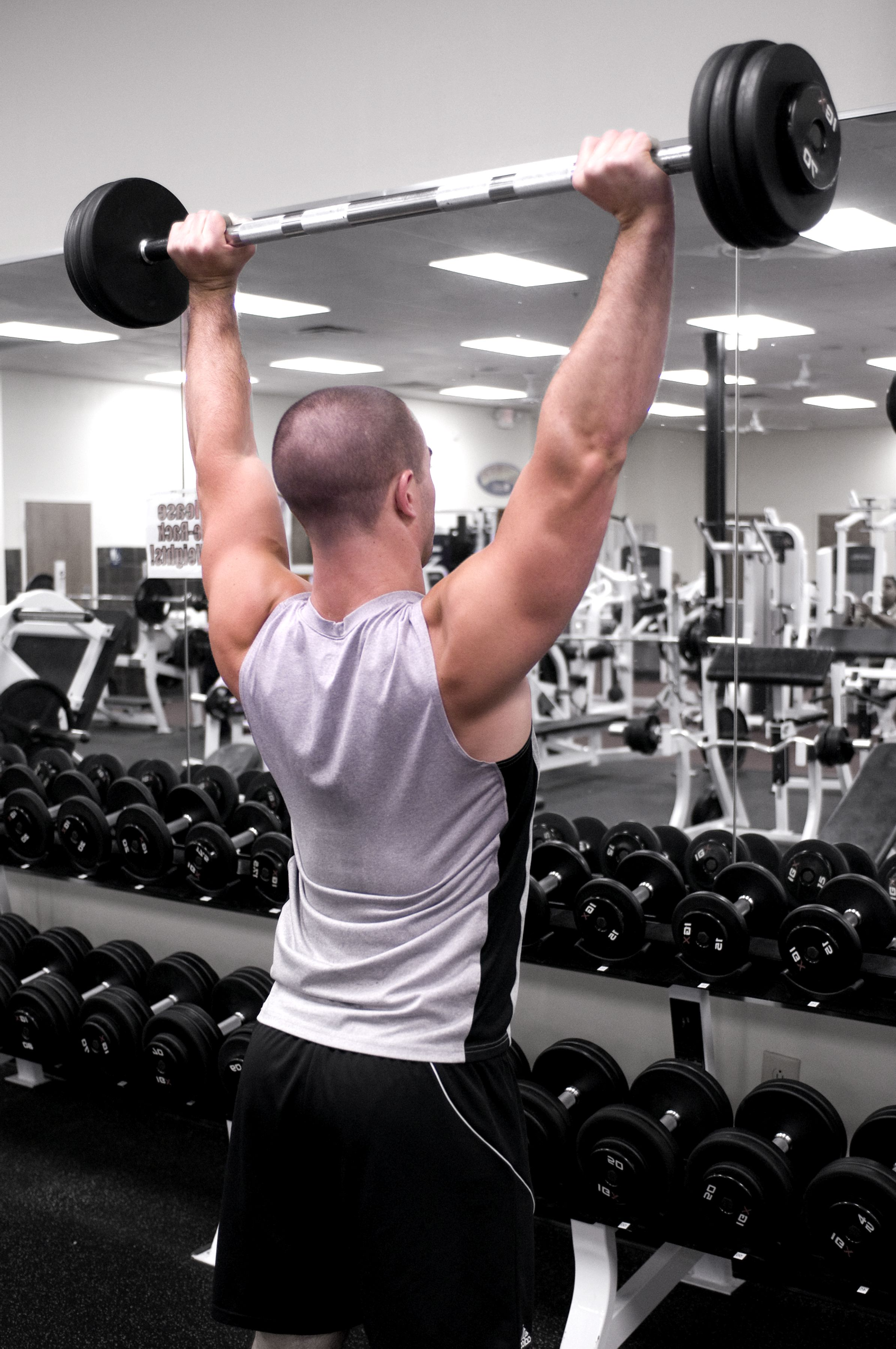 free picture standing overhead barbell presses