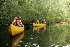 obitelji, kajak, rijeku, brodovi
