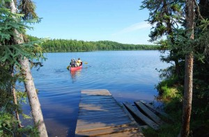 family, canoe, lake