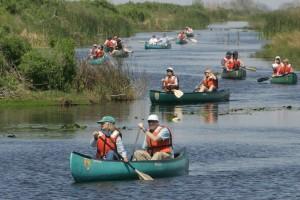Skupina, životní prostředí, vzdělávání, věda, učitelé, tour, kánoe, jezero