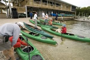 kayakers, preparing, kayaking