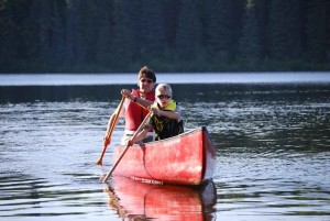 homme, enfant, paddle, sport, canoë