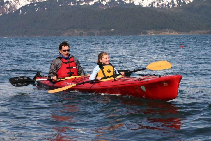 man, girl, kayak
