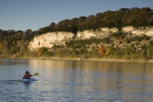 homme, kayak, falaises