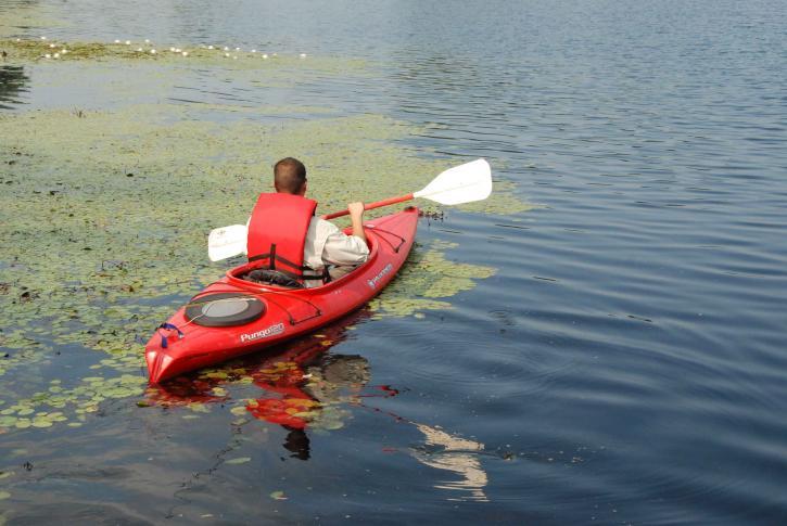 sportist, détente, canoë, randonnée, calme, rivière