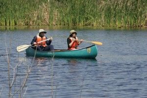 two, environmental, education, science, teachers, enjoying, canoe, tour, refuge