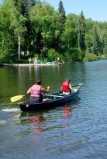 two, people, canoe, lake, swimmers, dock