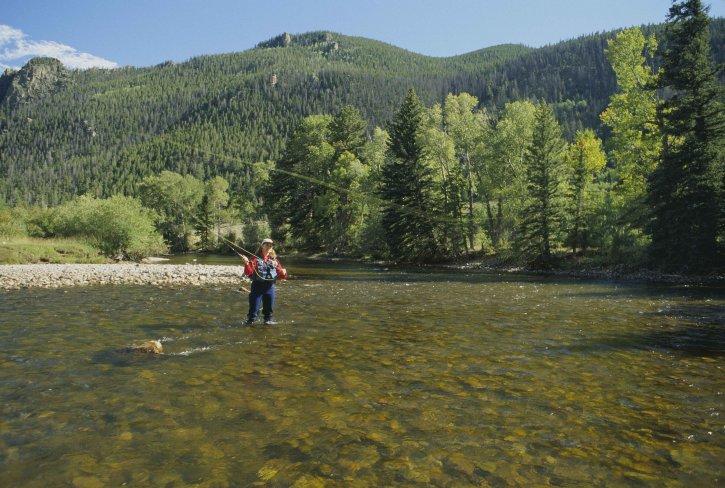 letjeti, fisher, uživanje, dan, ribolov