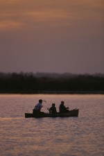 group, three, fishers, enjoy, sunset, canoe