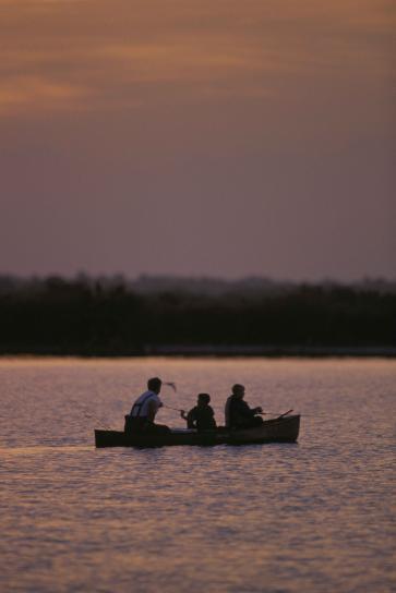 Група, три, рибари, се ползват, залез слънце, кану