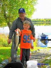 unge, alaskan, bedstefar, gik, dag, fiskeri