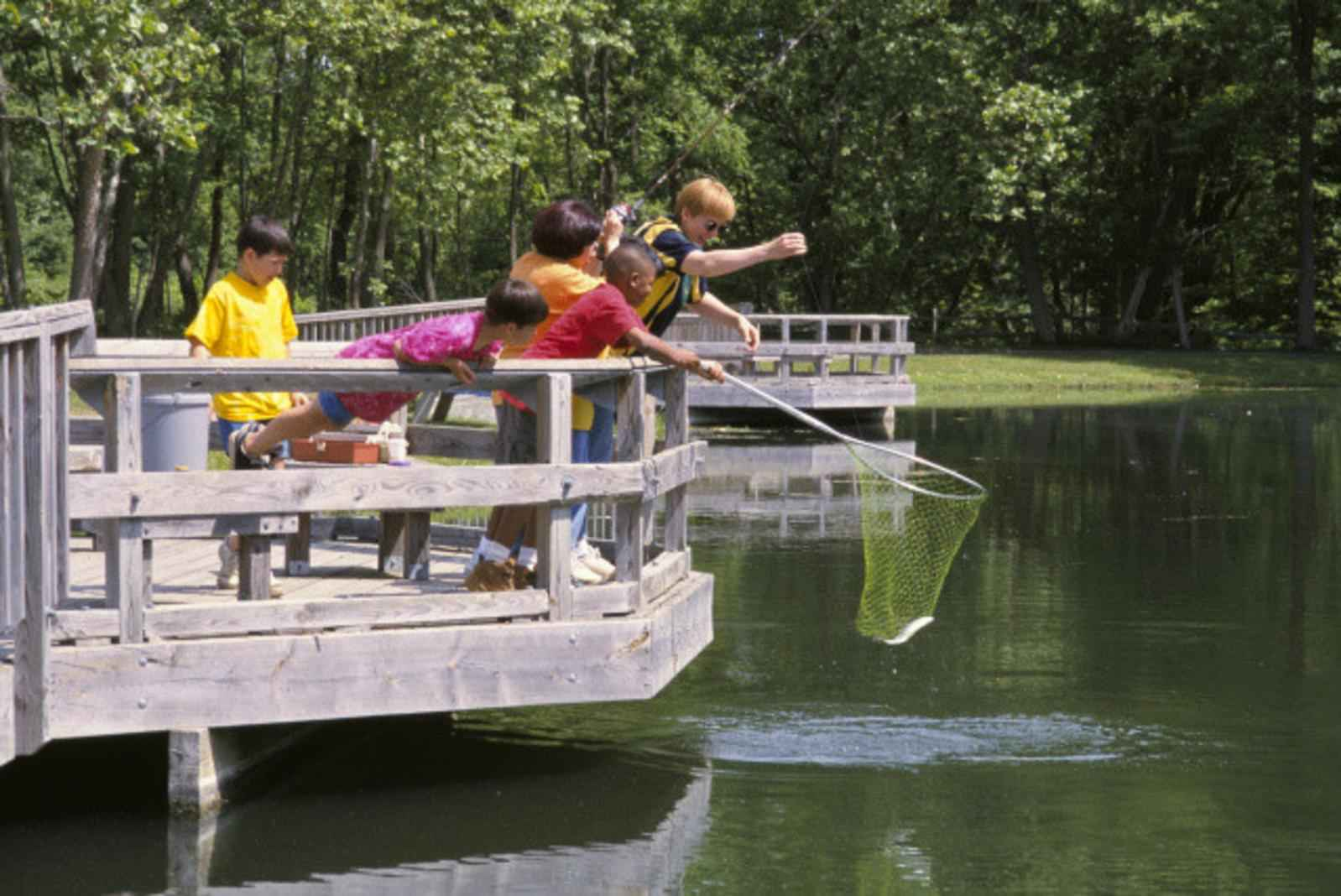 Free Picture Adults Children Enjoy Noon Fishing Pond