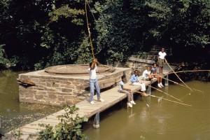 enfants américains Afro, pêche, bois, pont
