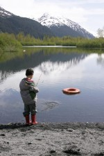 garçon, pêche, portage