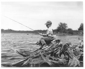 boy, fishing, black and white, image