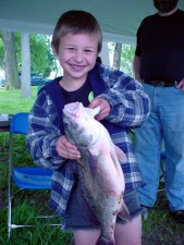 boy, holding, big, fish