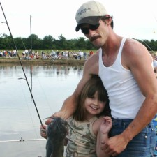 father, daughter, catfish