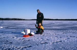 父亲, 儿子, 准备, 冰, 捕鱼