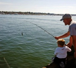 father, son, fishing, little, boy, helps, father, fish