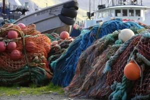 Fisch, Netz, Haufen, Hafen, Schiffe