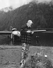 fisherman, assembling, fly, rod, lake, vintage, photo