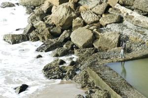 Fischer, Fischerei, zu sehen, Wellen