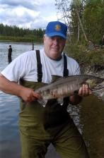 pêcheur, agréable, kéta, saumon