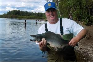 fisherman, nice, pink, salmon, caught, creek